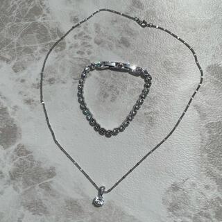スワロフスキー(SWAROVSKI)のスワロフスキー テニス ブレスレット 一粒 ネックレス セット(ブレスレット/バングル)