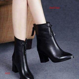 ブーツ、超人気、黒のショートブーツプラットフォームハイヒールq(ブーツ)