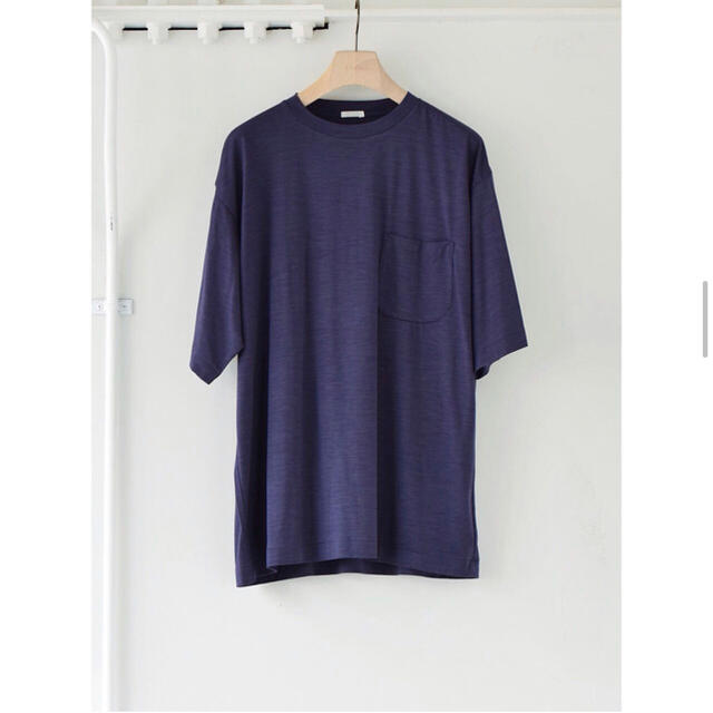 COMOLI(コモリ)のCOMOLI 21SS ウール天竺半袖クルーフレンチネイビーサイズ3 新品未使用 メンズのトップス(Tシャツ/カットソー(半袖/袖なし))の商品写真