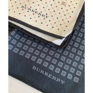バーバリー(BURBERRY)の未使用 バーバリー ハンカチ 2枚 セット 黒 ベージュ(ハンカチ/ポケットチーフ)