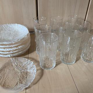 ガラス製 タンブラー(9こ)とお皿(12枚)(食器)