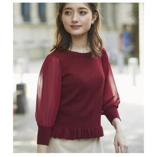 トッコ(tocco)のtocco closet トッコクローゼット 裾フリルシアー袖ニットプルオーバー(ニット/セーター)