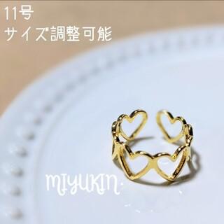 925スターリングシルバー 調整可能なハート型ゴールドカラー韓国リング(リング(指輪))
