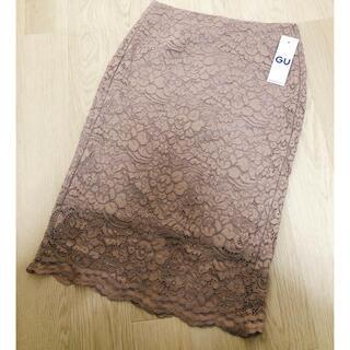 ジーユー(GU)のGU スリットレースタイトスカート入り ピンク Mサイズ(ひざ丈スカート)