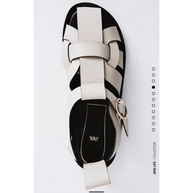 ZARA(ザラ)のZARA レザーフラットサンダル 38 レディースの靴/シューズ(サンダル)の商品写真