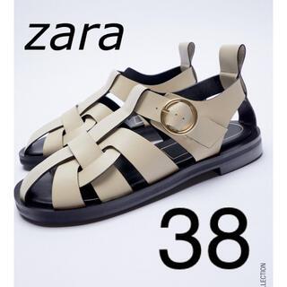 ZARA - ZARA レザーフラットサンダル 38