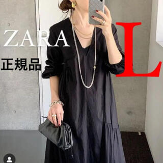 ZARA - 新品 ZARA  ザラ パフスリーブ付きポプリンワンピース L