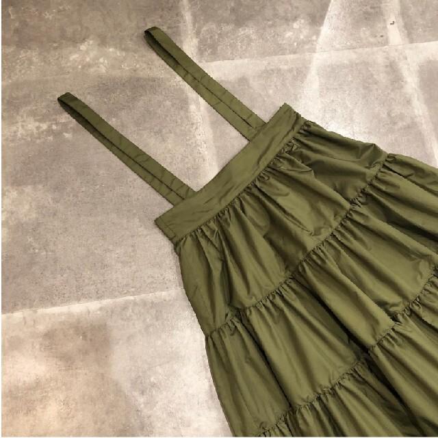 Cygne ティアードスカート カーキ 美品 レディースのスカート(ロングスカート)の商品写真