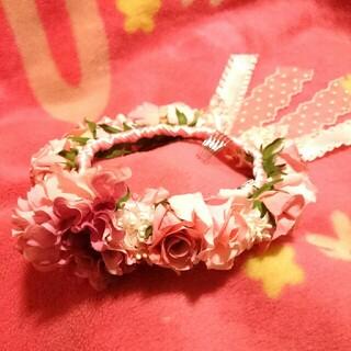 BABY,THE STARS SHINE BRIGHT - BABY the stars★未使用品/ローズコサージュとリボンのお花冠★ピンク