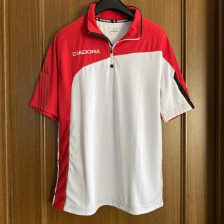 ディアドラ(DIADORA)のディアドラ メンズ テニス ゲームシャツ S 赤白 グレー ライン(ウェア)