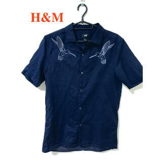 エイチアンドエム(H&M)の[未使用品] H&M バードデザインシャツ ネイビー(シャツ)