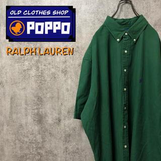 Ralph Lauren - ラルフローレン☆ワンポイント刺繍ロゴ半袖ビッグチノボタンダウンシャツ 90s