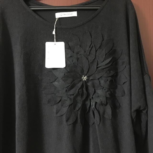 Bou Jeloud(ブージュルード)のブージュルード 花のモチーフパッチワーク刺繍 ニット  レディースのトップス(ニット/セーター)の商品写真