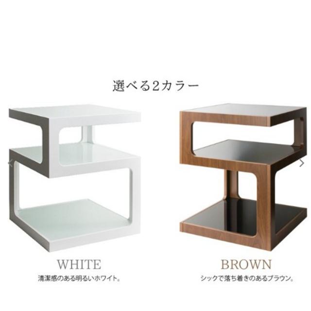 サイドテーブル  ナイトテーブル ソファテーブル ガラス天板 おしゃれ インテリア/住まい/日用品の机/テーブル(ローテーブル)の商品写真