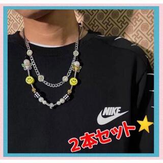 ニコちゃん スマイル ネックレス メンズ アクセサリー 2本セット ファッション