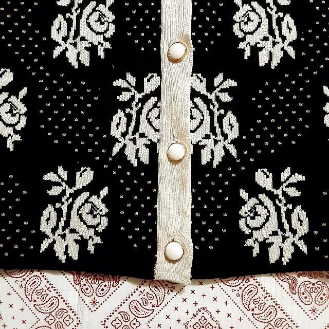 バラ柄 パフスリーブ 半袖 ニット カーディガン ★即納★ レディースのトップス(ニット/セーター)の商品写真