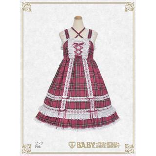 BABY,THE STARS SHINE BRIGHT - 【新品未開封】タータンチェックベビードールジャンパースカート 限定色ピンク