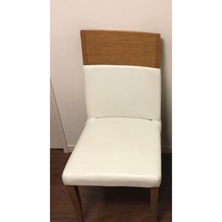 ニトリ(ニトリ)の革張りダイニングチェア 椅子 ホワイト 1脚(ダイニングチェア)