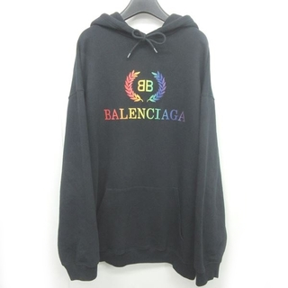 Balenciaga - バレンシアガ 19SS パーカ スウェット レインボーロゴ BB 刺繍 M