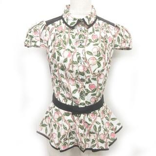 ルイヴィトン(LOUIS VUITTON)のルイヴィトン 美品 ブラウス ボタニカル柄 切替 コットン リボン 半袖 34(シャツ/ブラウス(半袖/袖なし))