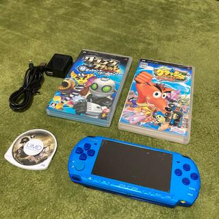 プレイステーションポータブル(PlayStation Portable)の【希少】PSP3000 本体 スカイブルー/マリンブルー ソフト3本 2GB(携帯用ゲーム機本体)