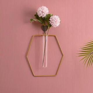 Francfranc - 【六角形】ワイヤーフラワーベース アイアン 壁掛け花瓶 シンプル