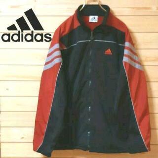 アディダス(adidas)のアディダスadidas 刺繍ロゴ 赤黒ジャケットジャンパー M 背中ロゴ(ブルゾン)