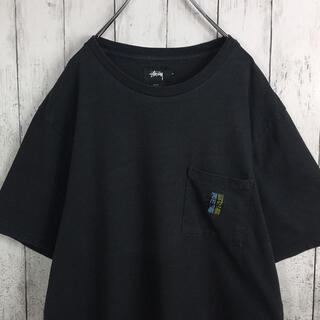 STUSSY - ステューシー 刺繍ロゴ ポケットTシャツ M スミクロ