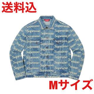 Supreme - Flayed Logos Denim Trucker Jacket BLUE M
