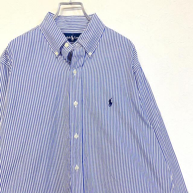 POLO RALPH LAUREN(ポロラルフローレン)の90's 海外古着 Ralph Lauren 刺繍ロゴBDシャツ ストライプ柄 メンズのトップス(シャツ)の商品写真