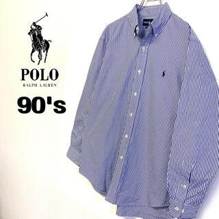 POLO RALPH LAUREN - 90's 海外古着 Ralph Lauren 刺繍ロゴBDシャツ ストライプ柄