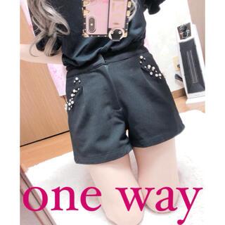 ワンウェイ(one*way)の3371.one way パールビジュー ハイウエスト ブラック ショートパンツ(ショートパンツ)