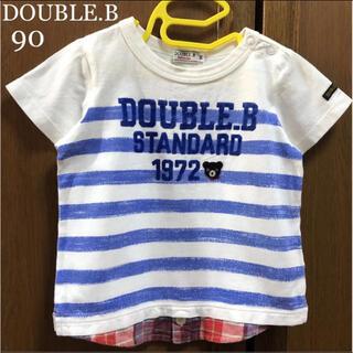 DOUBLE.B - ミキハウス ダブルビー 重ね着風 半袖 シャツ Tシャツ 春 夏 ファミリア