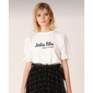 Lily Brown - リリーブラウン 異素材スリーブ パフスリーブ カットソー Tシャツ シャーリング