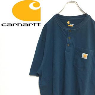 carhartt - カーハート アメリカ古着 ヘンリーネック ポケットTシャツ 半袖 ブルー メンズ