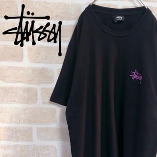 STUSSY - stussy ステューシー Tシャツ 半袖 ワンポイントロゴ 黒 ブラック