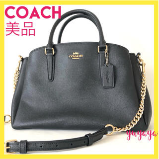 COACH - 【美品】コーチ バッグ ショルダーバッグ ハンドバッグ 黒 セージ チェーン