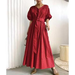Ameri VINTAGE - shirring volume sleeve dress 赤 レッド