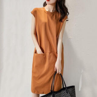 Sサイズ オレンジ ワンピース 春服 夏服 ノースリーブ シンプル 体型カバー