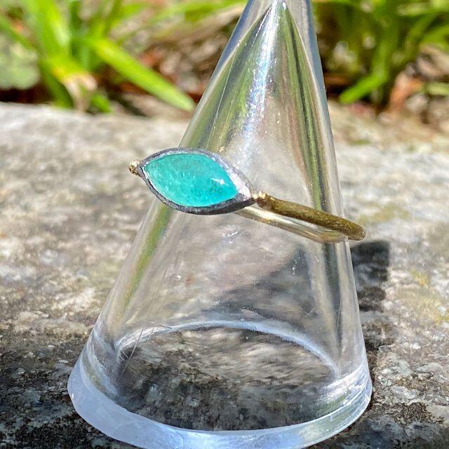 ブラジル産☆パライバトルマリン マーキスルース 手作りデザインリング 0.504 レディースのアクセサリー(リング(指輪))の商品写真