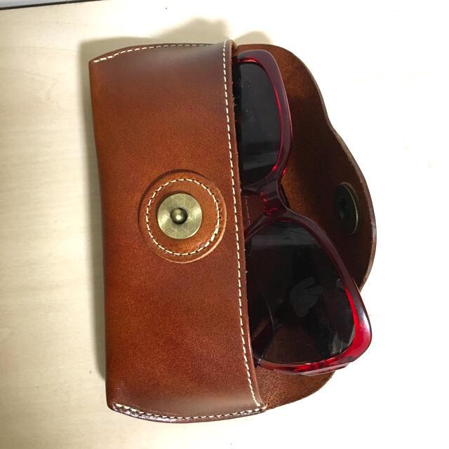 本革 メガネゲース 高級牛革ヌメ革 手作りメンズ レディースお洒落メガネゲース メンズのファッション小物(サングラス/メガネ)の商品写真