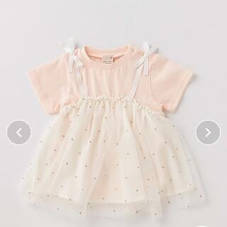 petit main - プティマイン キラキラドット チュール ドッキング Tシャツ ライトピンク 80