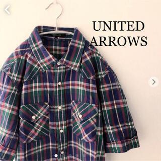 ユナイテッドアローズ(UNITED ARROWS)のユナイテッドアローズ チェックシャツ 半袖 Mサイズ ウエスタンシャツ(シャツ)