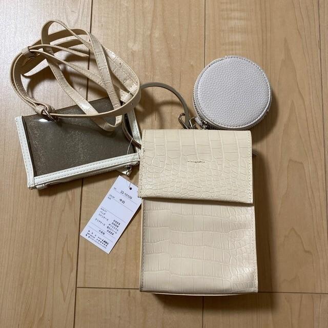 しまむら 3連 マルチ クロコ ミニ ショルダーバッグ 白 レディースのバッグ(ショルダーバッグ)の商品写真