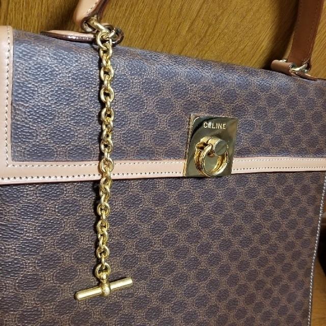 celine(セリーヌ)のセリーヌ マカダム PVC ×レザーハンドバッグブラウン レディースのバッグ(ハンドバッグ)の商品写真