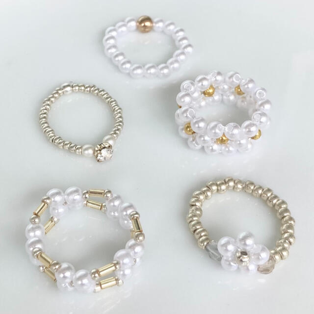 rinnu.(287) Flower ring 5点セット ハンドメイドのアクセサリー(リング)の商品写真