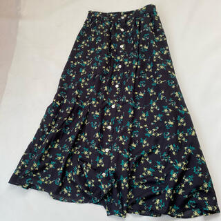 IENA SLOBE - スローブイエナ ロングスカート 花柄 黒 ブラック 春服 夏服