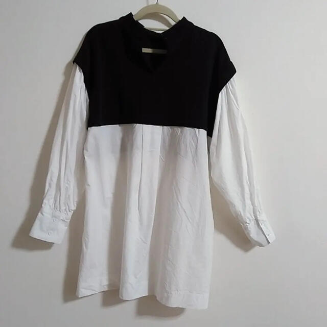 ZARA(ザラ)の❤︎ZARA ザラ ドッキングブラウス 白 黒 Mサイズ❤︎最終価格 レディースのトップス(シャツ/ブラウス(長袖/七分))の商品写真