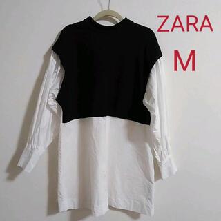 ZARA - ❤︎ZARA ザラ ドッキングブラウス 白 黒 Mサイズ❤︎