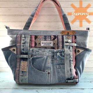 ◆ネイティヴストライプ/ピンクブルー系×デニム◆サイドポケット付き トートバッグ(バッグ)